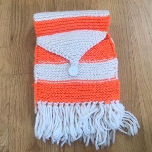 Accessories - Cream + Orange Button Knot Scarf